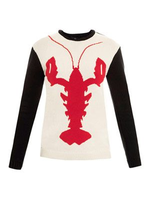 Lobster intarsia-knit sweater