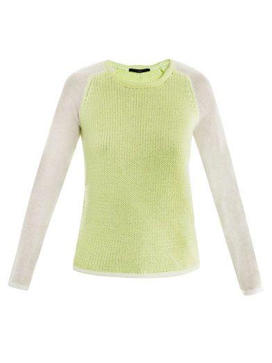 Tibi Colour-block neon sweater