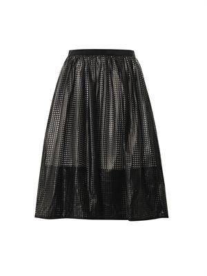 Pavement mesh faux-leather skirt