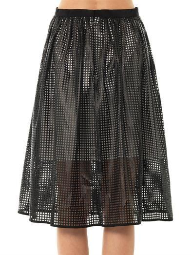 Tibi Pavement mesh faux-leather skirt