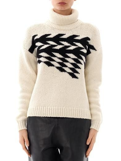 Tibi Chevron jacquard knit sweater