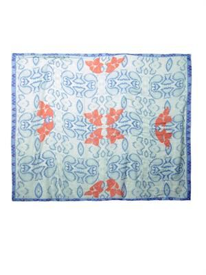 Flowering Palampore-print fine-knit scarf