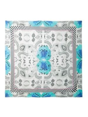 Naked In Sri Lanka-print fine-knit scarf