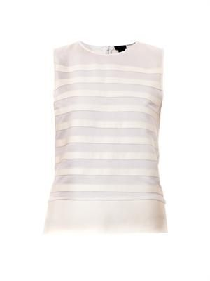 Leather stripe sleeveless top