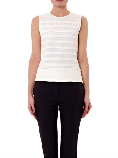 Theory Leather stripe sleeveless top