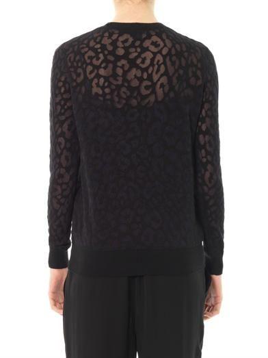 Theory Jaidyn sheer leopard sweater