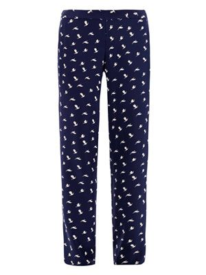 Bird-print silk trousers