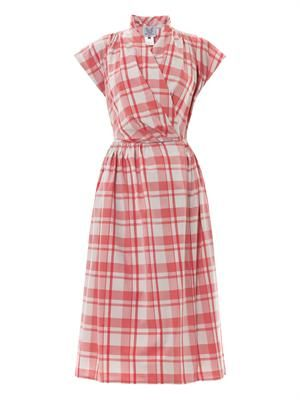Isolde gingham-print wrap dress