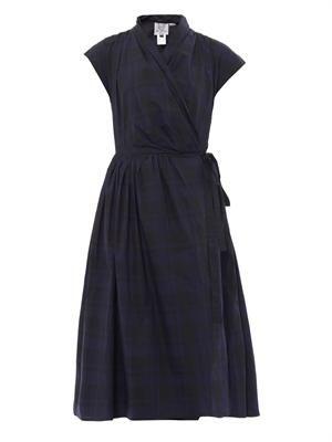 Isolde gingham-print wrap dress
