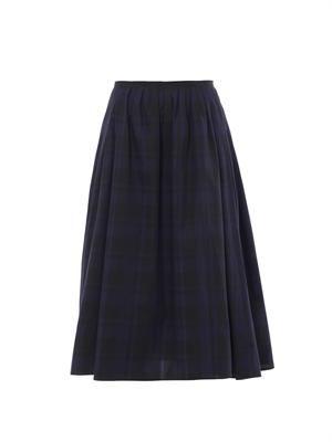 Mimi gingham-print midi skirt