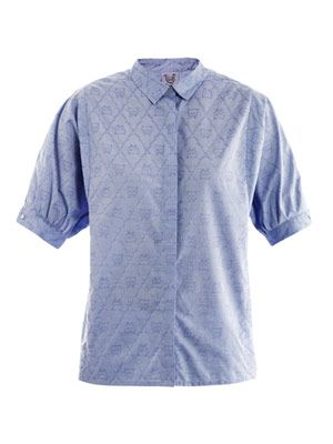 Cat jacquard cotton shirt