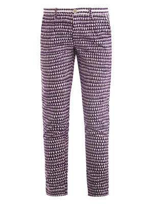 Karl geometric-print trousers