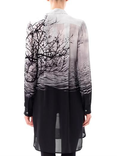 Mary Katrantzou Caven tree silhouette-print silk dress
