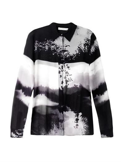 Mary Katrantzou Woodstick-print silk blouse