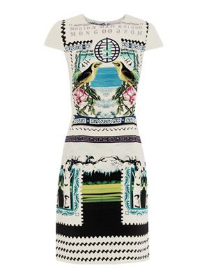 Rodrizo bird fitted dress
