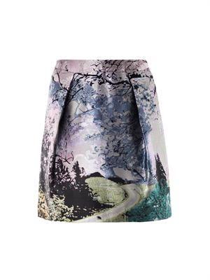Tullie Dijon tree-print skirt