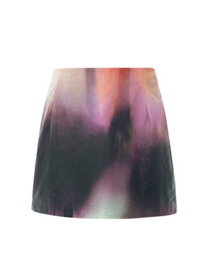 Kal versicolour leather skirt