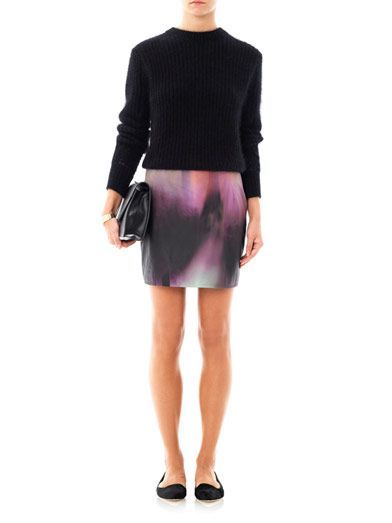 Mary Katrantzou Kal versicolour leather skirt