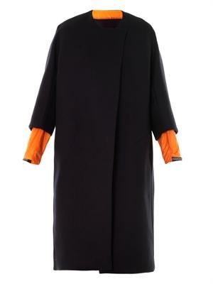 Contrast-cuff wool coat