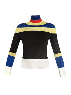 Mock-neck silk-jersey top