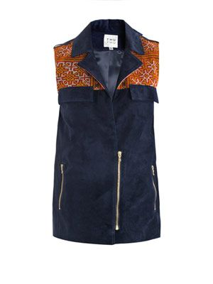 Suede and embroidered gilet