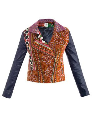 Leather sleeve embroidered jacket