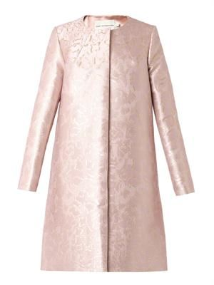 JQ cookie-jacquard A-line coat