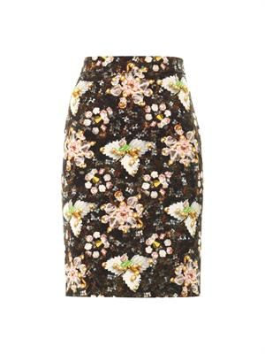 Decora jewel and flower-print skirt