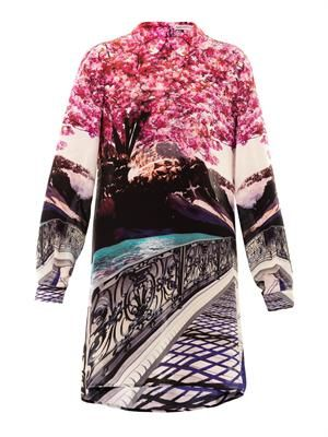 Blossom-print silk dress