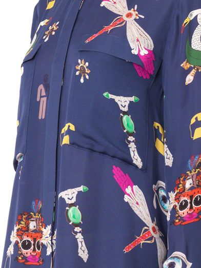 Mary Katrantzou Oriane symbol-print silk shirt dress