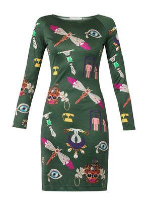 Symbol-print silk-jersey dress