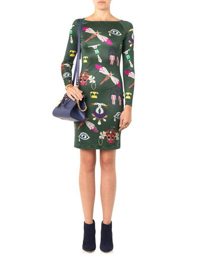 Mary Katrantzou Symbol-print silk-jersey dress