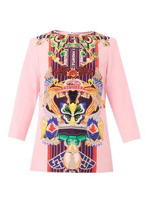 Spellbound Totem-print silk blouse