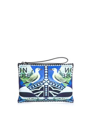 Star-sailor and bird-print leather clutch