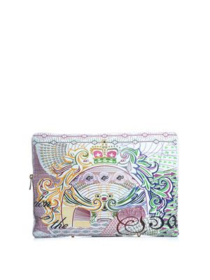Sorbonne-bird and postage-stamp leather clutch