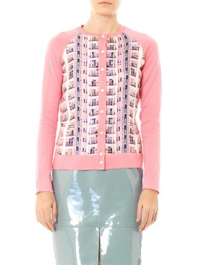 Mary Katrantzou Knipi Rose Shard silk panel cardigan