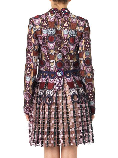 Mary Katrantzou Traffic sign-motif metallic dress