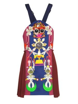 Clocktopia-print satin-wool dress