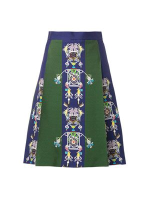Mecha Tiki Man-print skirt