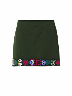 Embroidered-badge wool mini skirt
