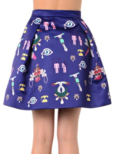 Mary Katrantzou Calculom symbol-print satin mini skirt