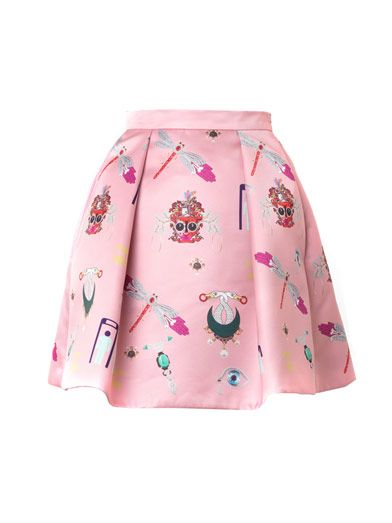 Mary Katrantzou Calculom symbol-print satin mini skirt