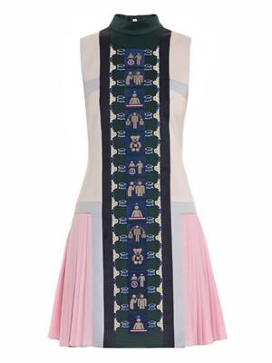 Stepa embroidered pleated dress