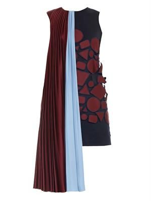 Depanda embroidered draped-shoulder dress