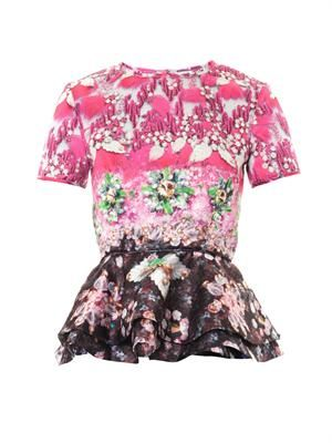 Pompei Pinkimon jewel-print peplum top