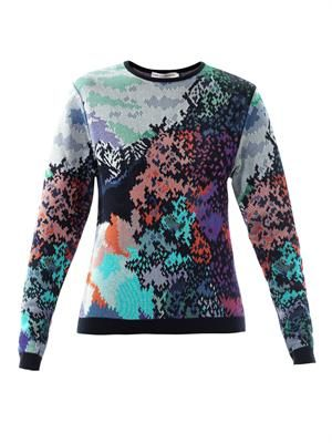 Fauwinding-print crew-neck sweater
