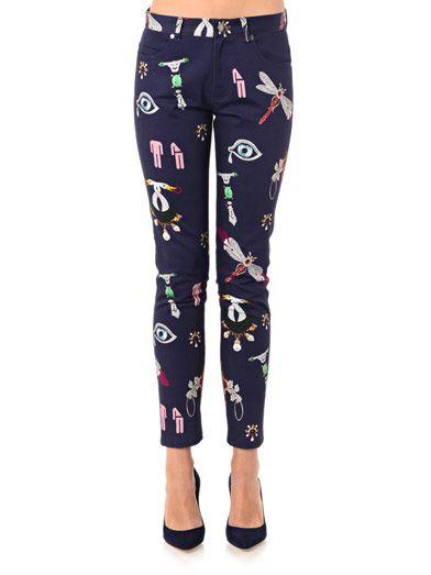 Mary Katrantzou Symbol-print skinny jeans