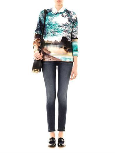 Mary Katrantzou Twist tree and lake printed sweatshirt
