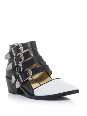 Bi-colour four-buckle cut-out shoes