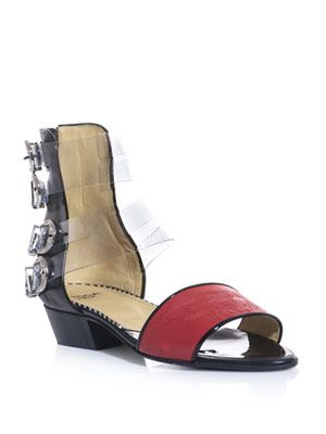 Embossed-leather four-buckle sandals
